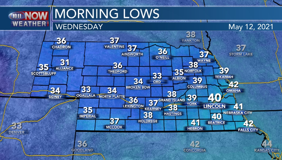 Wednesday will begin with below average temperatures for this time of the year.