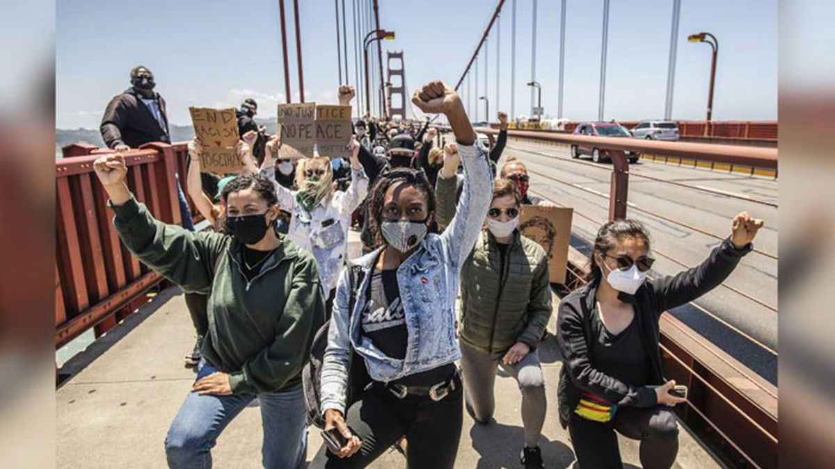 Protestors demonstrate on the Golden Gate Bridge in San Francisco, California, on June 6, 2020, after the death of George Floyd. (Source: Chris Tuite/ImageSPACE/MediaPunch /IPX)