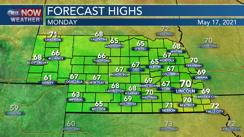 Below average high temperatures expected this afternoon.