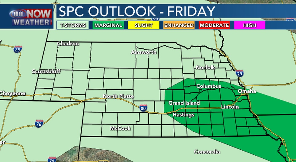 Isolated severe t'storms will be possible late Friday night.