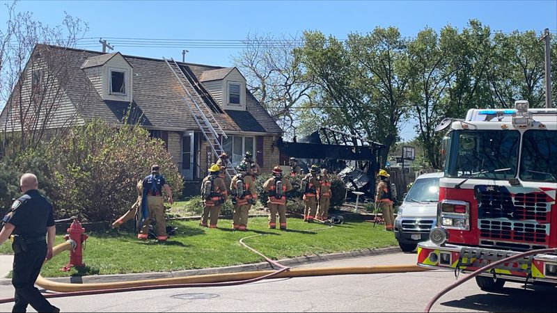 Lincoln Fire and Rescue battling a large house fire near 20th and Highway 2 late Thursday...