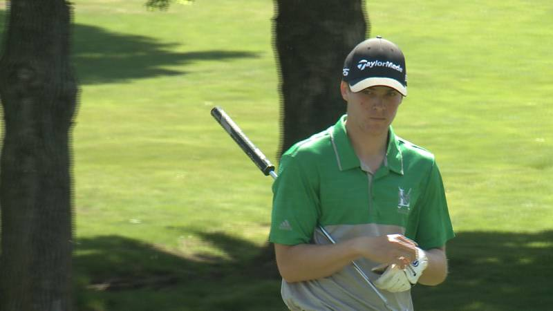 Lincoln Southwest golfer Geran Sander approaches the 1st green during the 2021 LPS Championships.