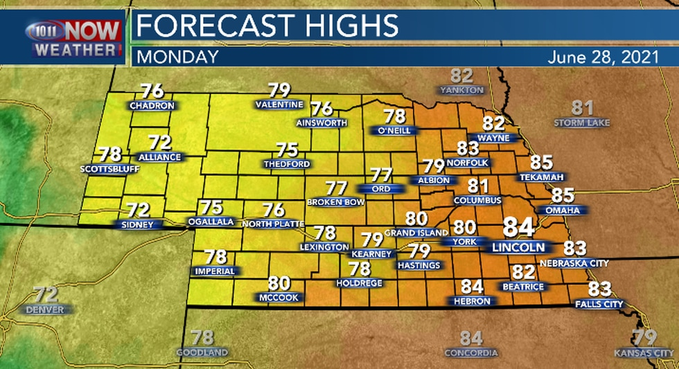 High temperatures Monday afternoon will be a bit below average.