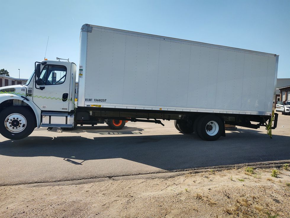 A commercial box truck was stopped with mechanical problems on the shoulder of eastbound I-80...