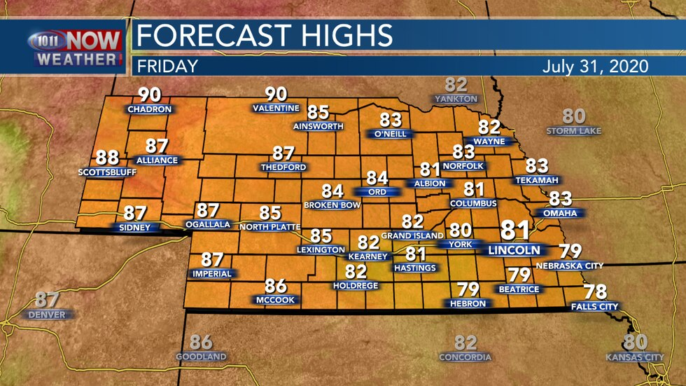 Another day with cooler temperatures are expected in eastern Nebraska with highs in the upper 70s to low 80s.