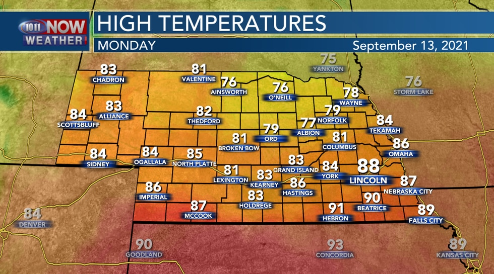 Highs On Monday