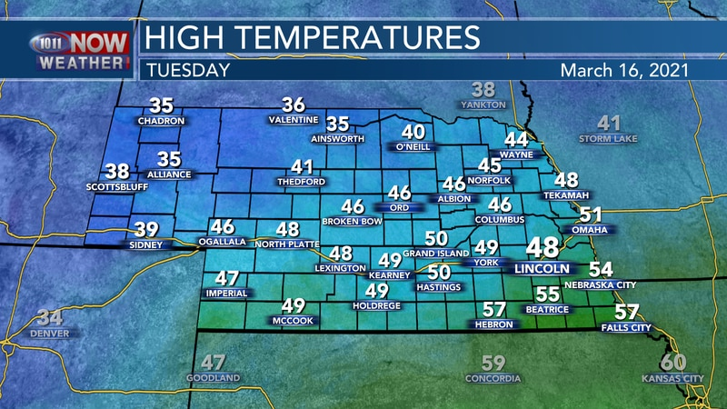 Temperatures on Tuesday will range from the mid 30s in the west to the mid 50s across...