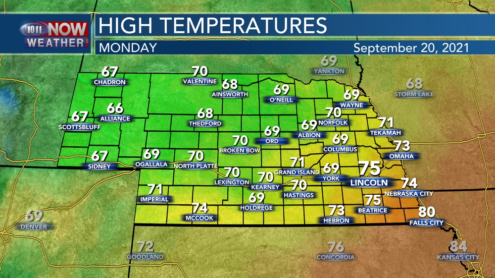 Look for highs in the 60s, 70s, to near 80° on Monday as a cold front sweeps through the state.