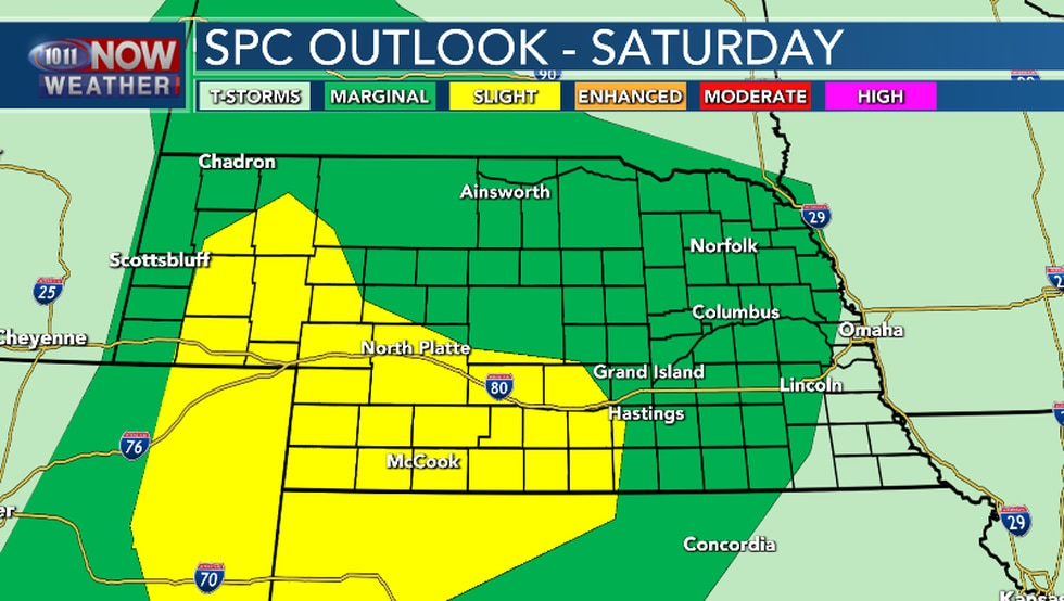 Severe thunderstorms are possible late Saturday afternoon and into the night.