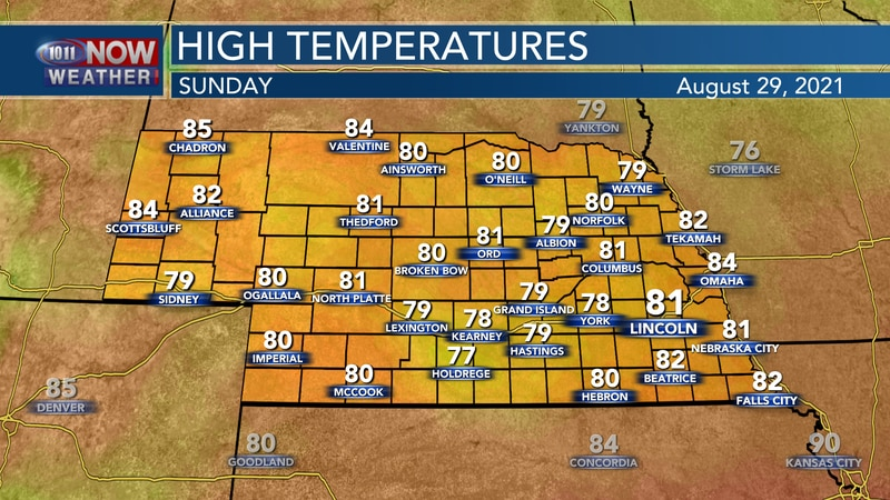 Temperatures will be cooler on Sunday with highs mainly in the low to mid 80s.