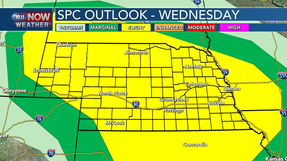 Much of the state is under a slight risk for severe weather on Wednesday.