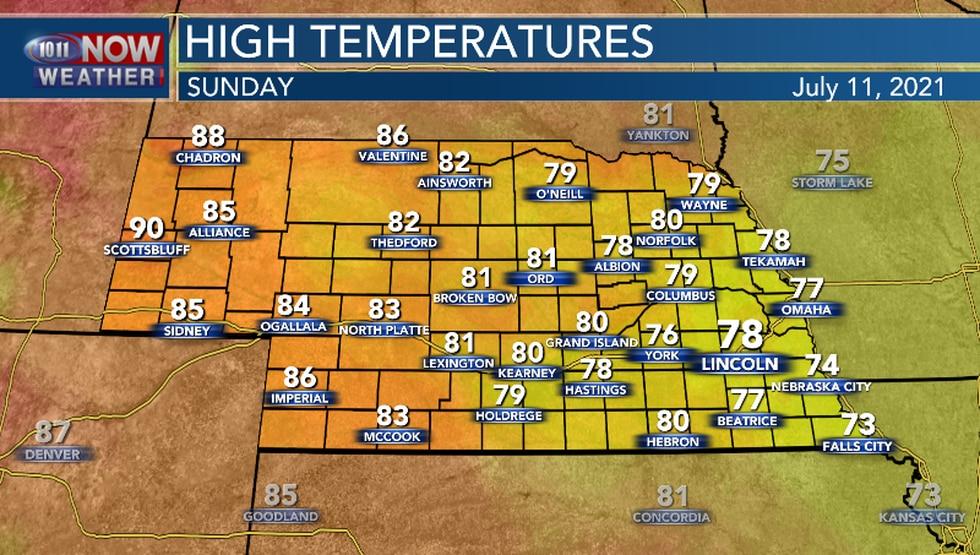 Temperatures should remain below average Sunday.
