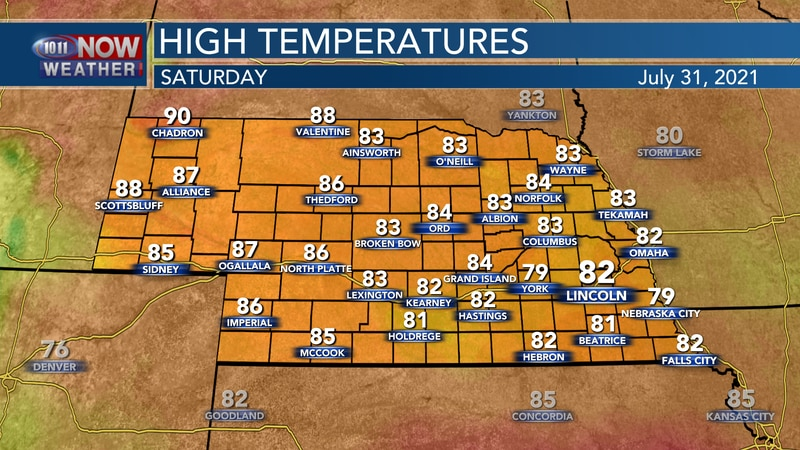 Cooler temperatures are forecast for Saturday with highs mainly in the low to mid 80s, though...