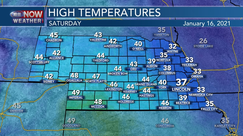 Slightly warmer weather is expected on Saturday with highs ranging from the low 30s to near 50°.