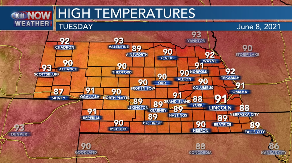 Very warm again Tuesday afternoon.