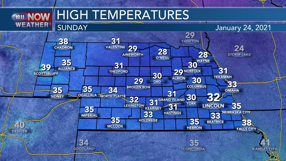 Temperatures will reach the upper 20s to lower and middle 30s for most on Sunday with cloudy...