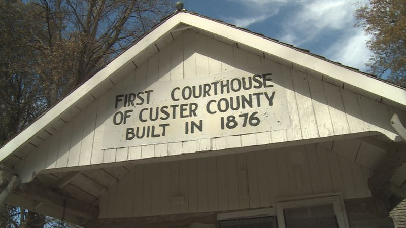 The first courthouse for Custer County was built in 1876 on a ranch, and then put to use in...