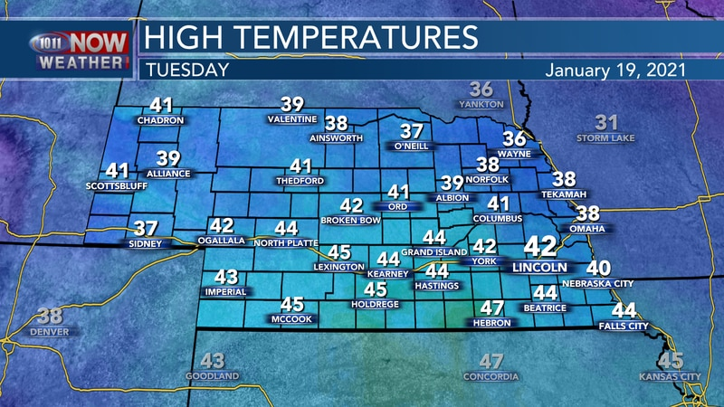 Temperatures should reach the upper 30s to lower and middle 40s on Tuesday with a mix of sun...