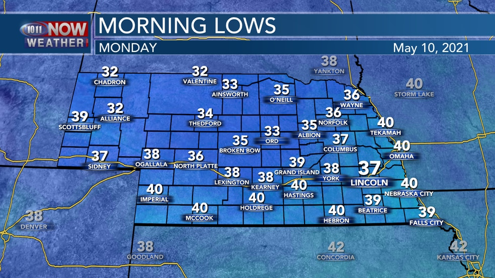 Chilly weather is expected into Monday morning with most areas dropping into the mid to upper...