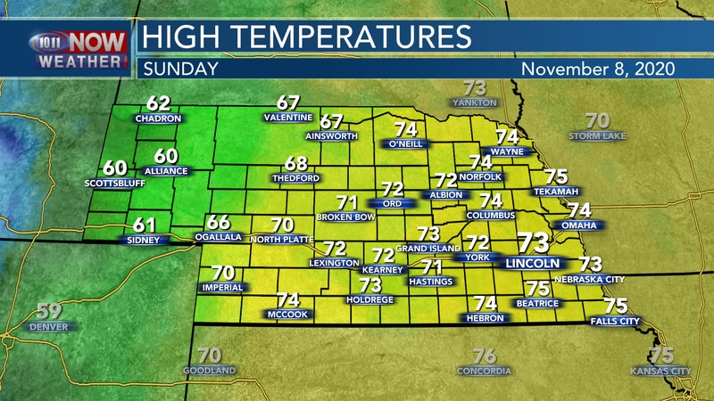 Temperatures should remain well above average on Sunday with highs in the low to mid 70s for...