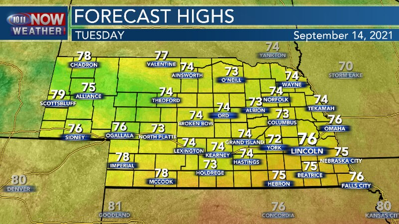 Cooler temperatures Tuesday afternoon