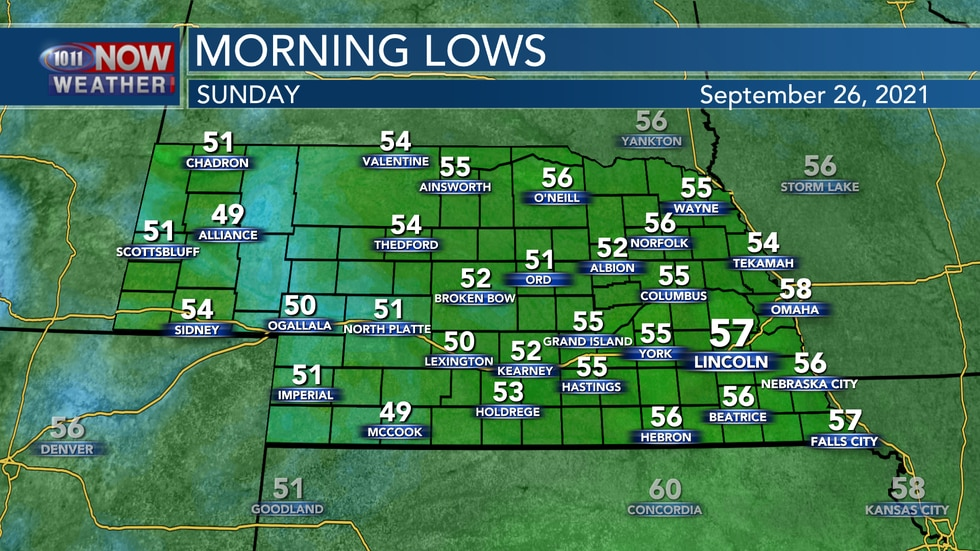 It won't be as chilly into Sunday morning with lows in the low to mid 50s for most of the state.
