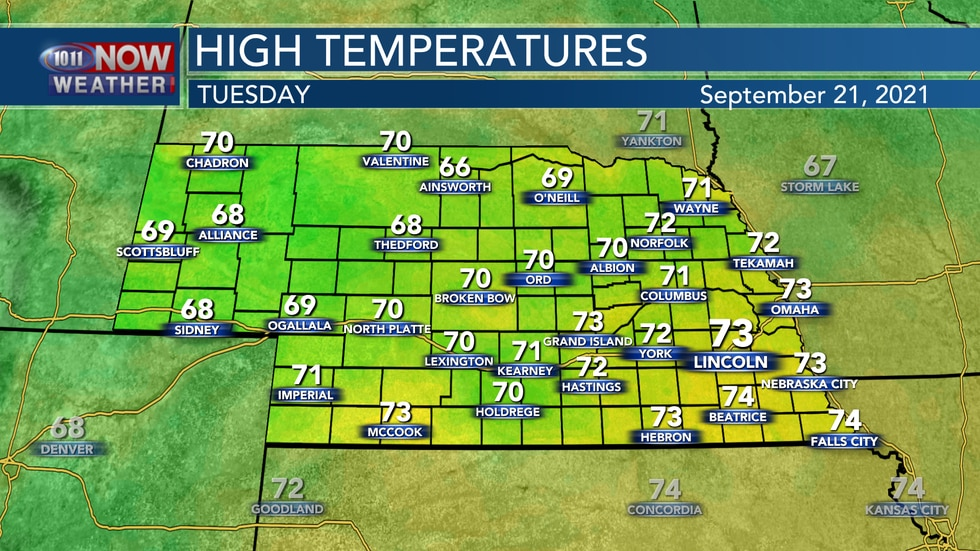 Look for afternoon highs in the upper 60s to low 70s on Tuesday.