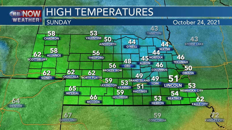 Look for highs ranging from the mid 40s to mid 60s on Sunday.