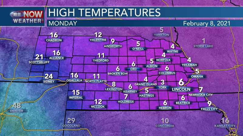 Bitterly cold temperatures will continue into Monday with highs mainly in the single digits...