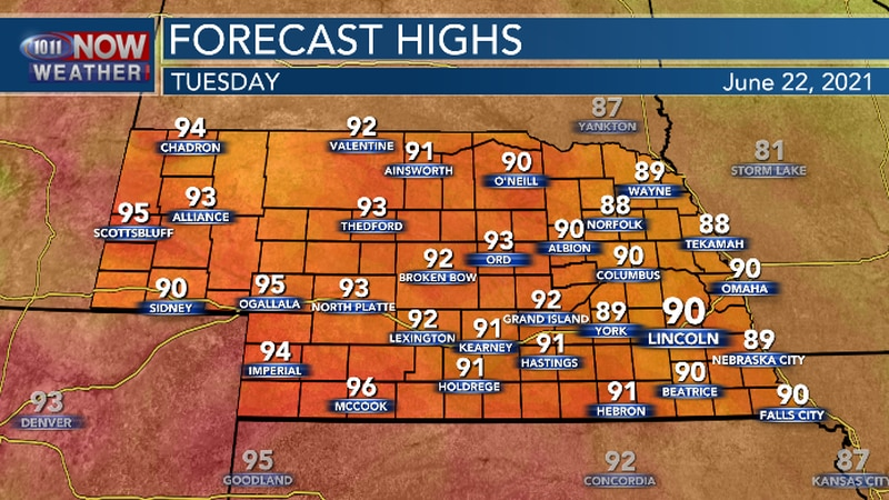 Hot temperatures begin to build back into the region.
