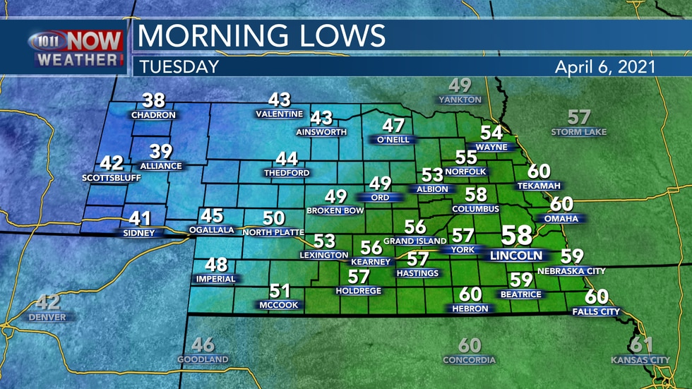 Another very mild night is expected across eastern Nebraska with overnight lows in the mid to...