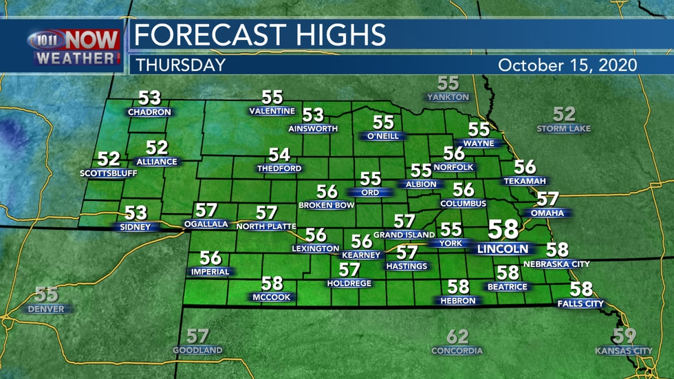 Cooler temperatures are expected Thursday with highs in the 50s.