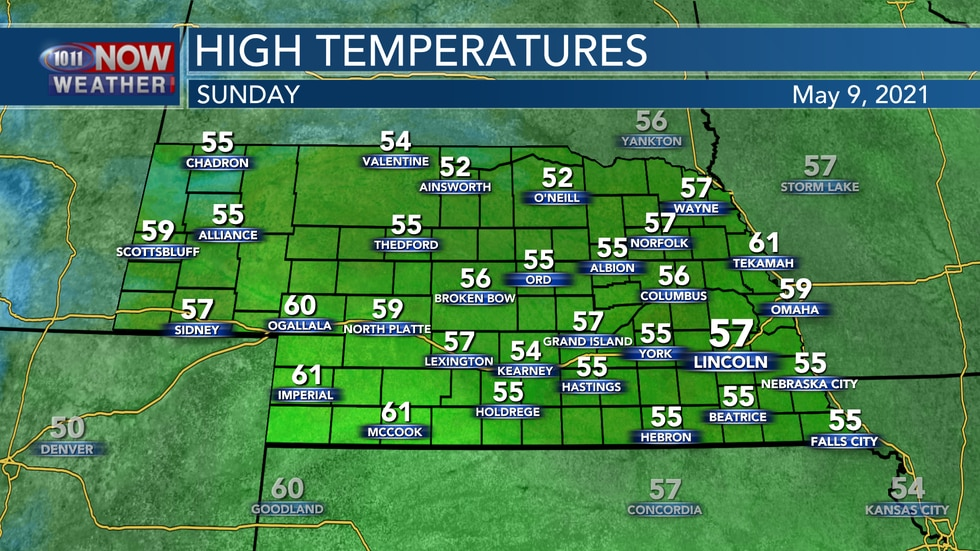 Mother's Day temperatures will remain quite cool with highs in the mid to upper 50s for most of...