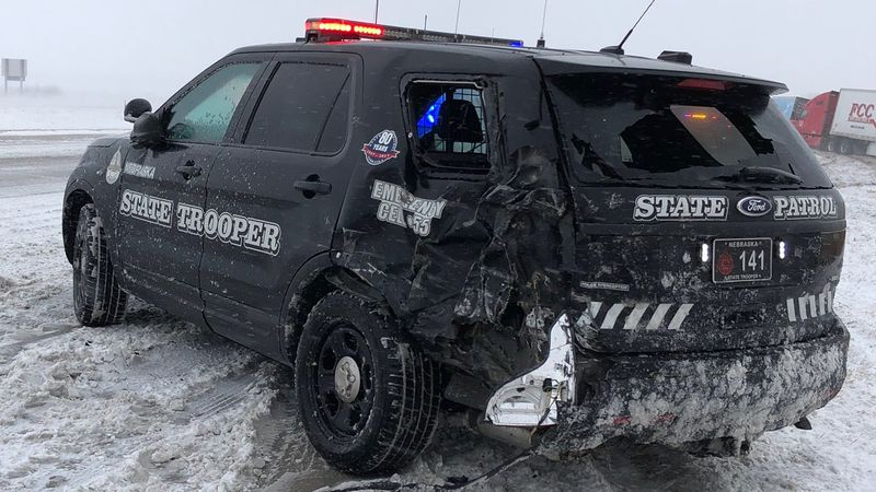 Nebraska State Patrol reported that a NSP vehicle was struck by a semi on Friday.