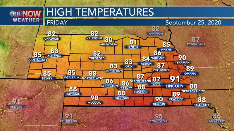 More above average temperatures with highs in the 80s to low 90s are possible on Friday.
