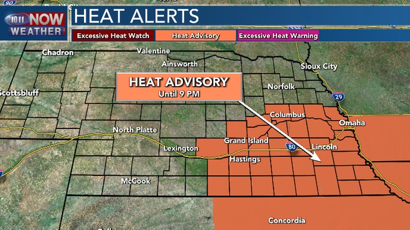 Heat Advisory until 9 pm Monday. Heat index readings from 105 to 110 possible Monday afternoon.