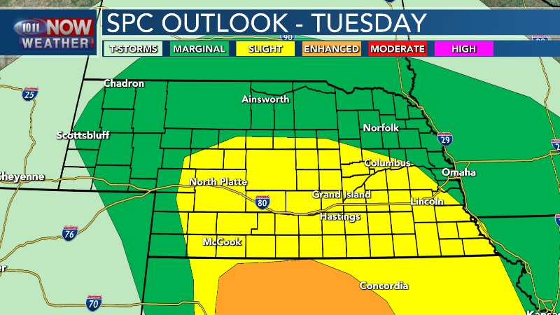 Severe thunderstorms are possible late Tuesday afternoon into Tuesday night.