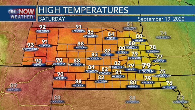 Temperatures warm up a bit on Saturday with highs in the upper 70s to the low and mid 90s...