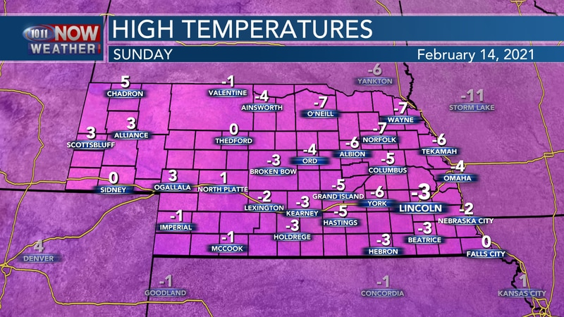 Temperatures likely won't climb above 0° on Sunday afternoon.