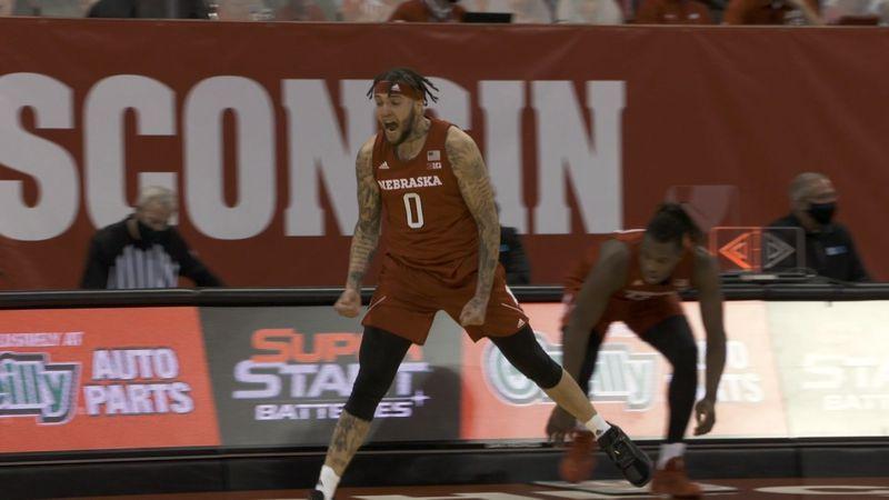 Nebraska guard Teddy Allen celebrates a 3-point shot during the Huskers' Big Ten opener at...