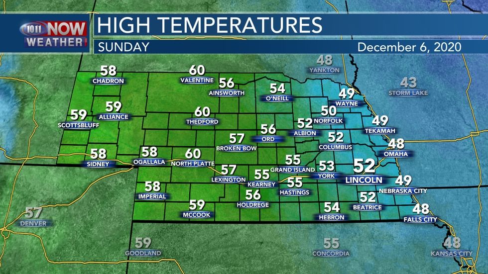 Temperatures stay mild through the weekend with highs in the upper 40s to lower 60s on Sunday.