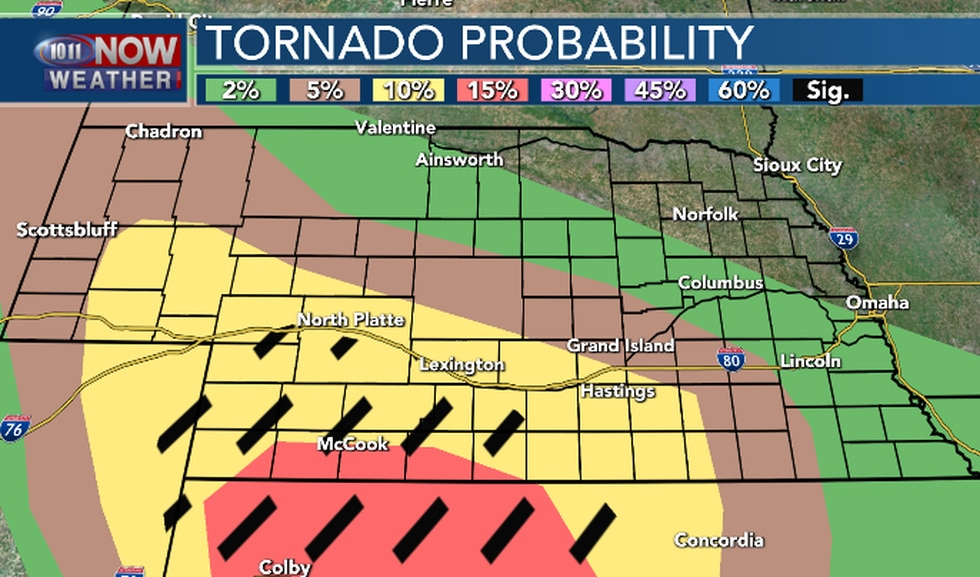 The greatest threat for tornadoes will be south central and southwestern Nebraska. The black...