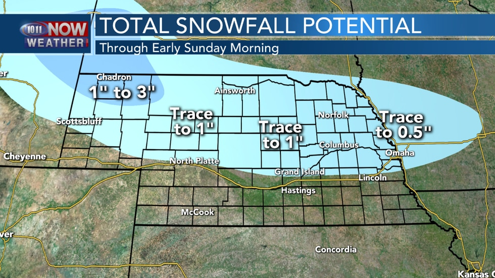 Light snow is possible overnight into early on Sunday across northern Nebraska. The best chance for an inch or two of snow is likely in northwestern Nebraska.