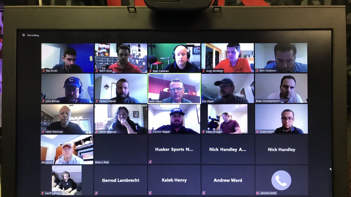 Scott Frost hosts a Zoom meeting with local reporters