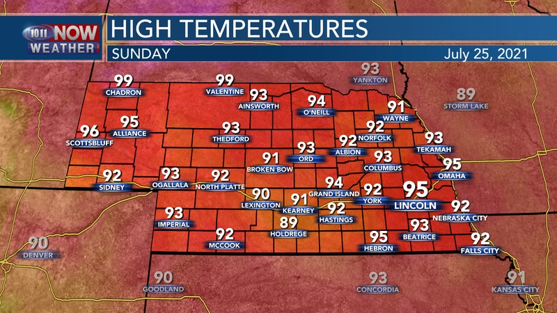 Temperatures by Sunday afternoon should sit in the lower to middle 90s for most of 10/11 Country.