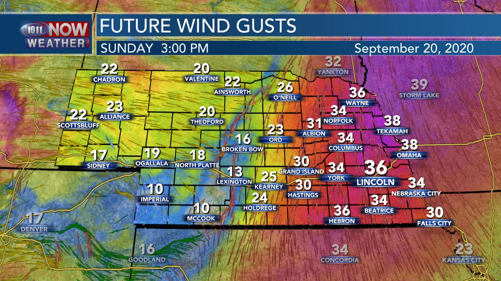 Strong southerly winds are expected again on Sunday with gusts between 30 and 40 MPH possible across eastern Nebraska.