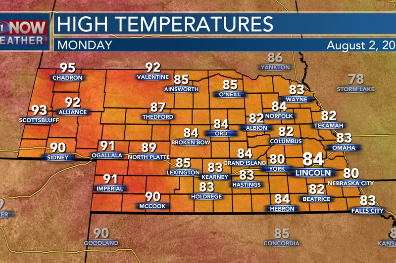 Look for highs in the lower to middle 80s again on Monday with 80s and 90s in the west.