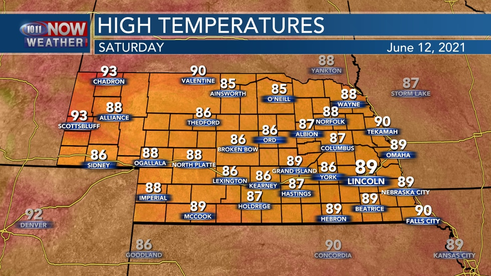 Temperatures will return to the mid to upper 80s on Saturday.