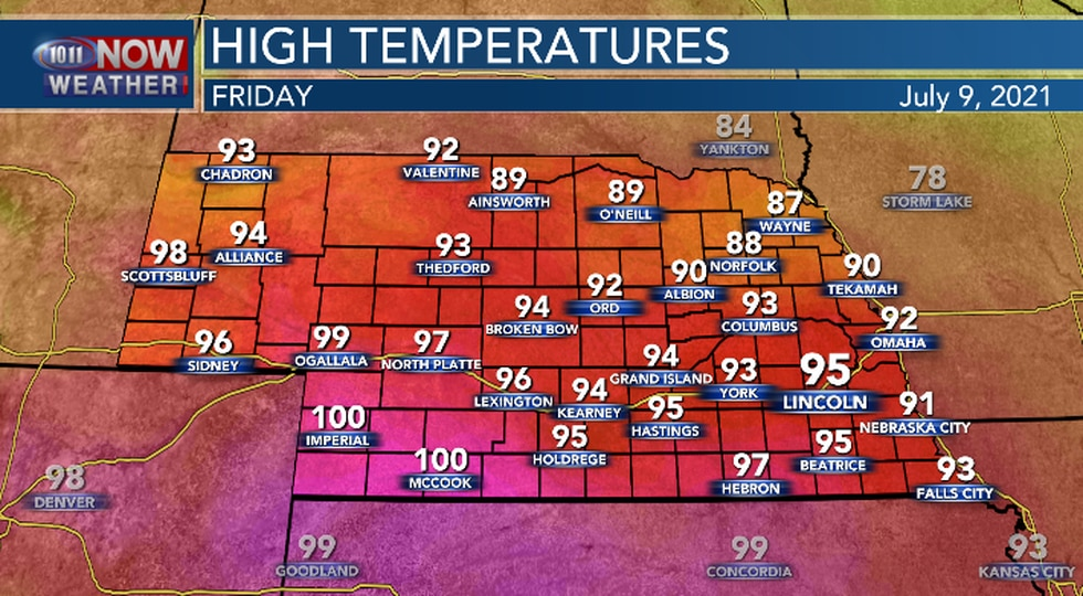 Hot and muggy conditions expected on Friday.