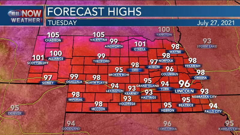Highs across Nebraska will be in the mid 90s to around 100.